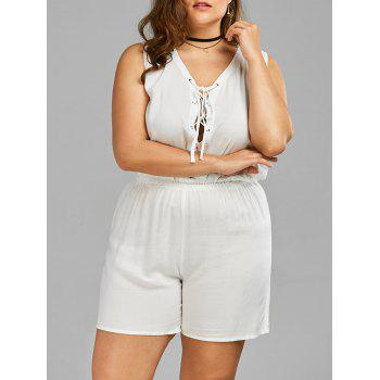 Plus Size V Neck Lace Up Palazzo Linen Romper