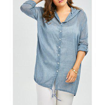 Plus Size Dot Hooded Button Up Top With Pockets