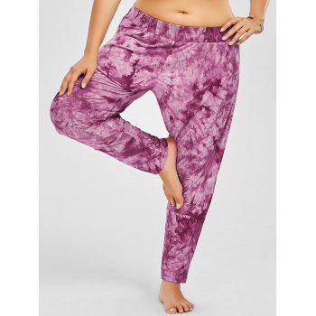 Tie Dye Side Slit Plus Size Harem Pants