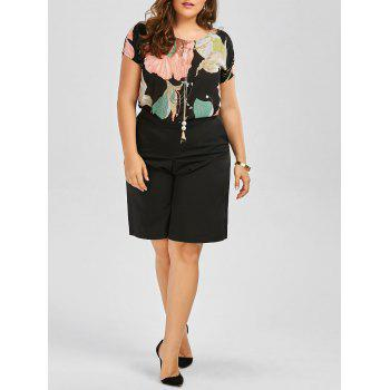 Plus Size Floral Chiffon Top With Knee Length Shorts