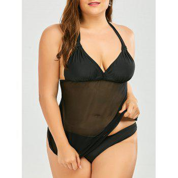 Plus Size Mesh Panel Halter Padded Tankini Swimsuit