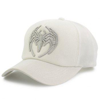 Mesh Splicing Spider Embroidered Baseball Hat