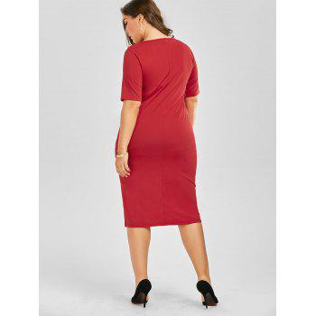 Plus Size Embroidered Embellished Midi Sheath Dress - RED RED