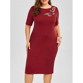 Plus Size Embroidered Embellished Midi Sheath Dress - WINE RED WINE RED