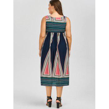 Sleeveless Tea Length A Line Plus Size Boho Midi Dress - COLORMIX COLORMIX