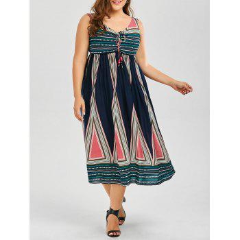 Sleeveless Tea Length A Line Boho Midi Dress