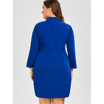 Plus Size Embroidered Button Down Shirt Dress with Long Sleeves - BLUE BLUE