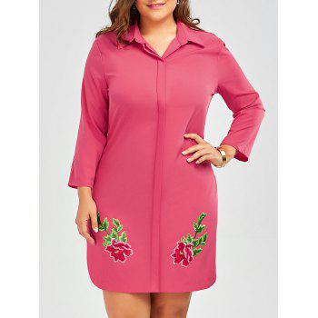 Plus Size Embroidered Shirt Dress With Long Sleeves