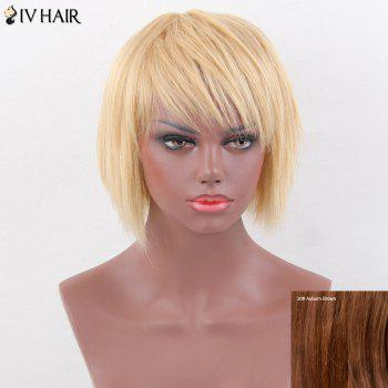 Siv Hair Layered Short Oblique Bang Straight Pixie Human Hair Wig