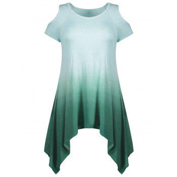 Ombre Asymmetrical Cold Shoulder T-shirt