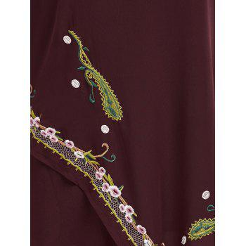 Plus Size Embroidered Layered Asymmetric Chiffon Dress - WINE RED WINE RED
