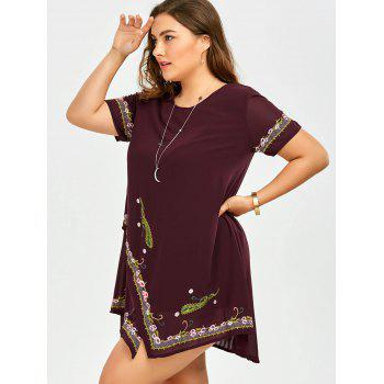 Plus Size Embroidered Layered Asymmetric Chiffon Dress - WINE RED 3XL