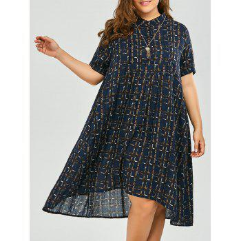 Plus Size Button Printed Midi Shirt Dress