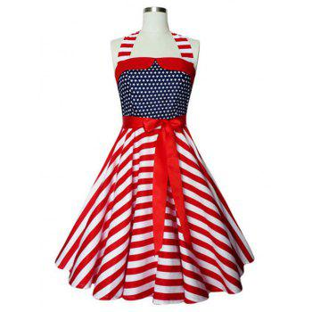 Halter American Flag Print Vintage Dress