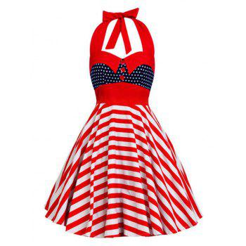 Vintage Halter Backless American Flag Dress