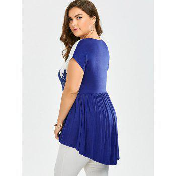 Lace Insert Plus Size High Low Top - BLUE/WHITE BLUE/WHITE
