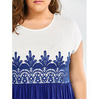 Lace Insert Plus Size High Low Top - BLUE/WHITE 2XL