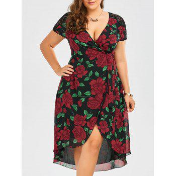 Floral Print Lace Panel Asymmetrical Wrap Dress