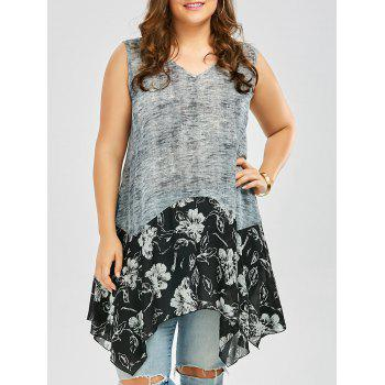 Plus Size Floral Linen Tunic Handkerchief Tank Top