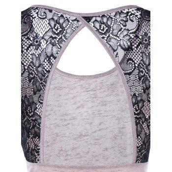 Lace Trim Open Back T-Shirt - SHALLOW PINK SHALLOW PINK