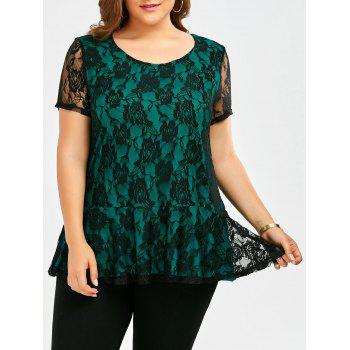 Plus Size Ruffle Floral Lace Top