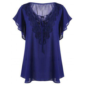 Plus Size Lace Trim Tie Front Blouse - BLUE BLUE