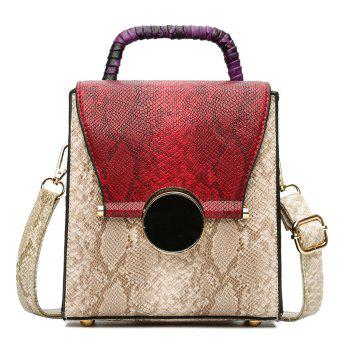 Snake Print Color Blocking Handbag - RED RED