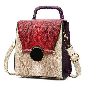 Snake Print Color Blocking Handbag -  RED