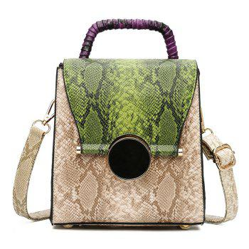 Snake Print Color Blocking Handbag