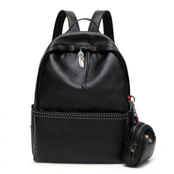 Rivet Ethnic Pendant Backpack with Coin Purse