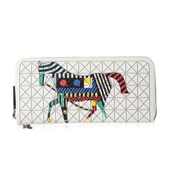 Rhombus Patched Print Zip Around Wallet - WHITE WHITE