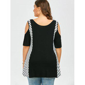 Plus Size Striped Cold Shoulder T-Shirt - BLACK 2XL