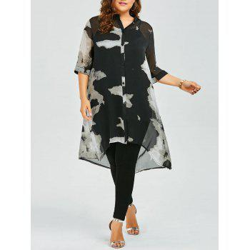 Plus Size Longline Button Up Chiffon Flowy Tunic Top - BLACK 3XL