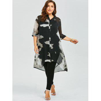 Plus Size Longline Button Up Chiffon Flowy Tunic Top - 3XL 3XL