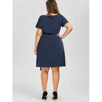 Plus Size Belted Knee Length Dress With Pockets - 2XL 2XL