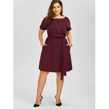 Plus Size Belted Knee Length Dress With Pockets - 6XL 6XL