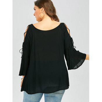 Scoop Neck Lace-Up Plus Size Top - BLACK 5XL