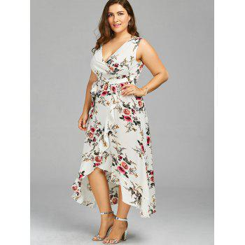 plus size tiny floral overlap flounced flowy beach dress, white