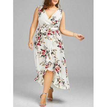 Plus Size Tiny Floral Overlap Flounced Flowy Beach Dress