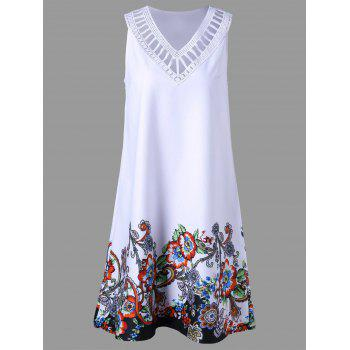 Ladder Detail Floral Sleeveless Dress - WHITE 2XL