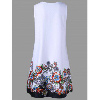Ladder Detail Floral Sleeveless Dress - WHITE WHITE