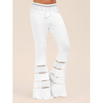 Lace Panel High Waist Tassel Flare Pants