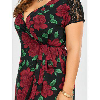 Plus Size Floral Print Lace Panel Asymmetrical Wrap Dress - BLACK BLACK