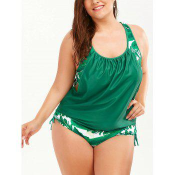 Plus Size Faux Twinset Palm Leaf Swimwear