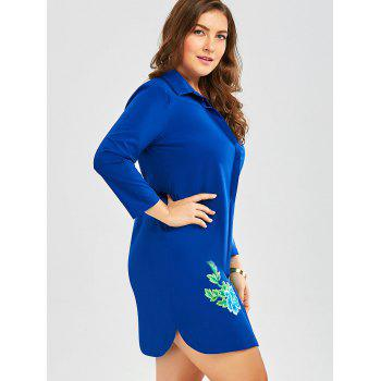 Plus Size Embroidered Button Down Shirt Dress with Long Sleeves - BLUE 2XL