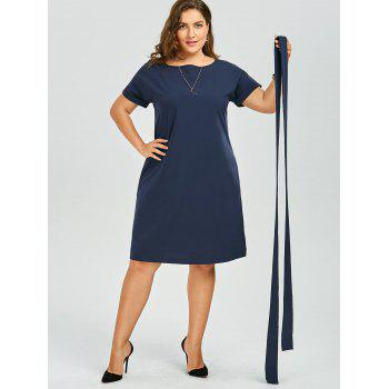 Plus Size Belted Knee Length Dress With Pockets - DEEP BLUE 2XL