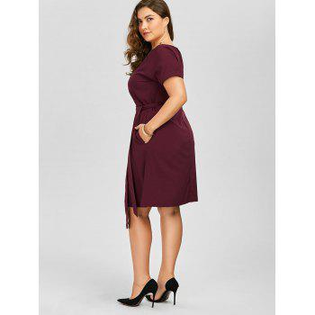 Plus Size Belted Knee Length Dress With Pockets - WINE RED 6XL