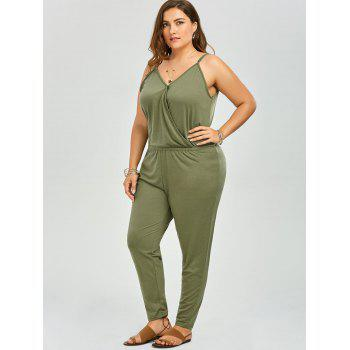 Plus Size V Neck Spaghetti Strap Jumpsuit - GREEN 5XL