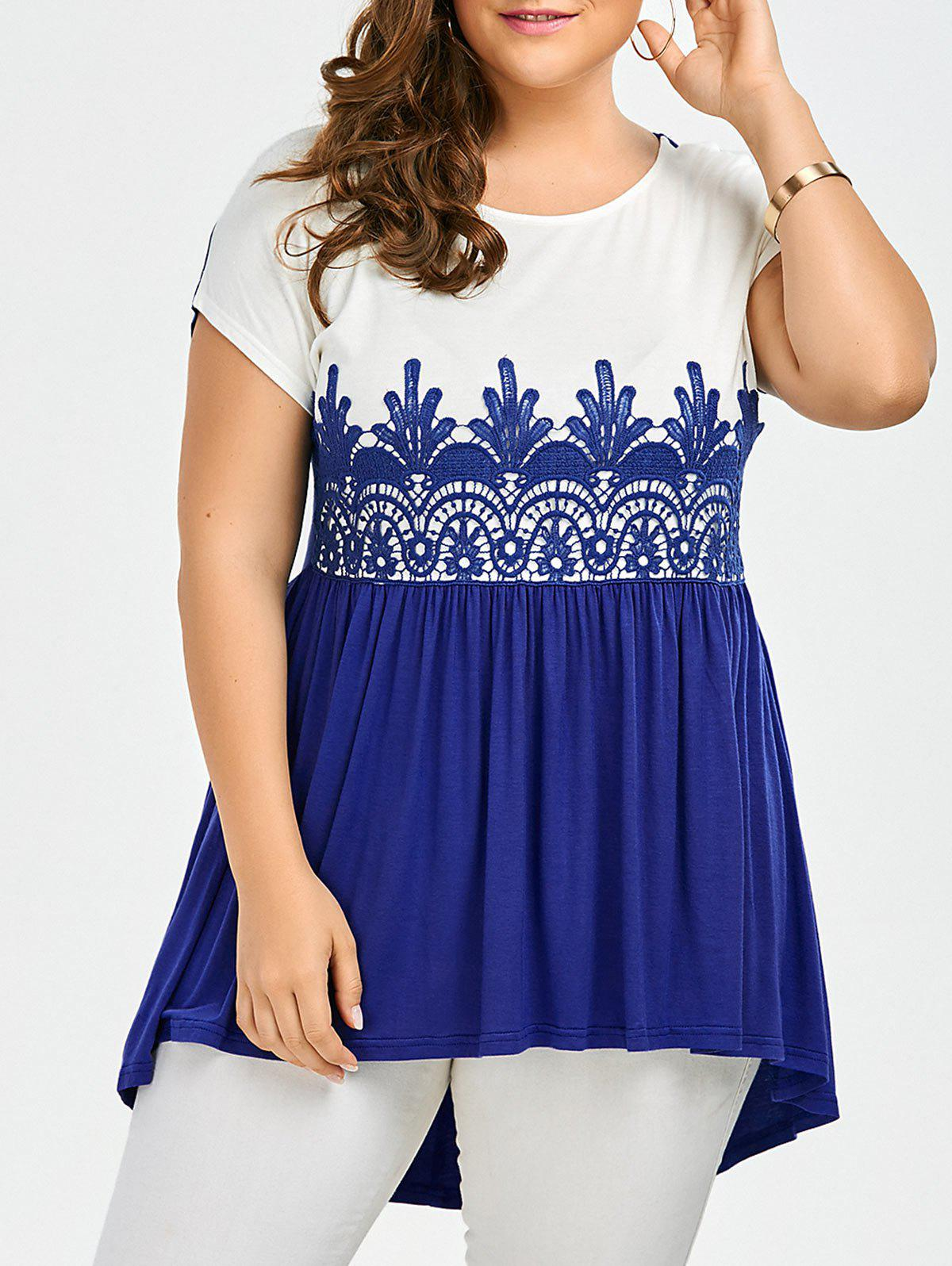 Lace Insert Plus Size High Low Top - BLUE/WHITE 5XL