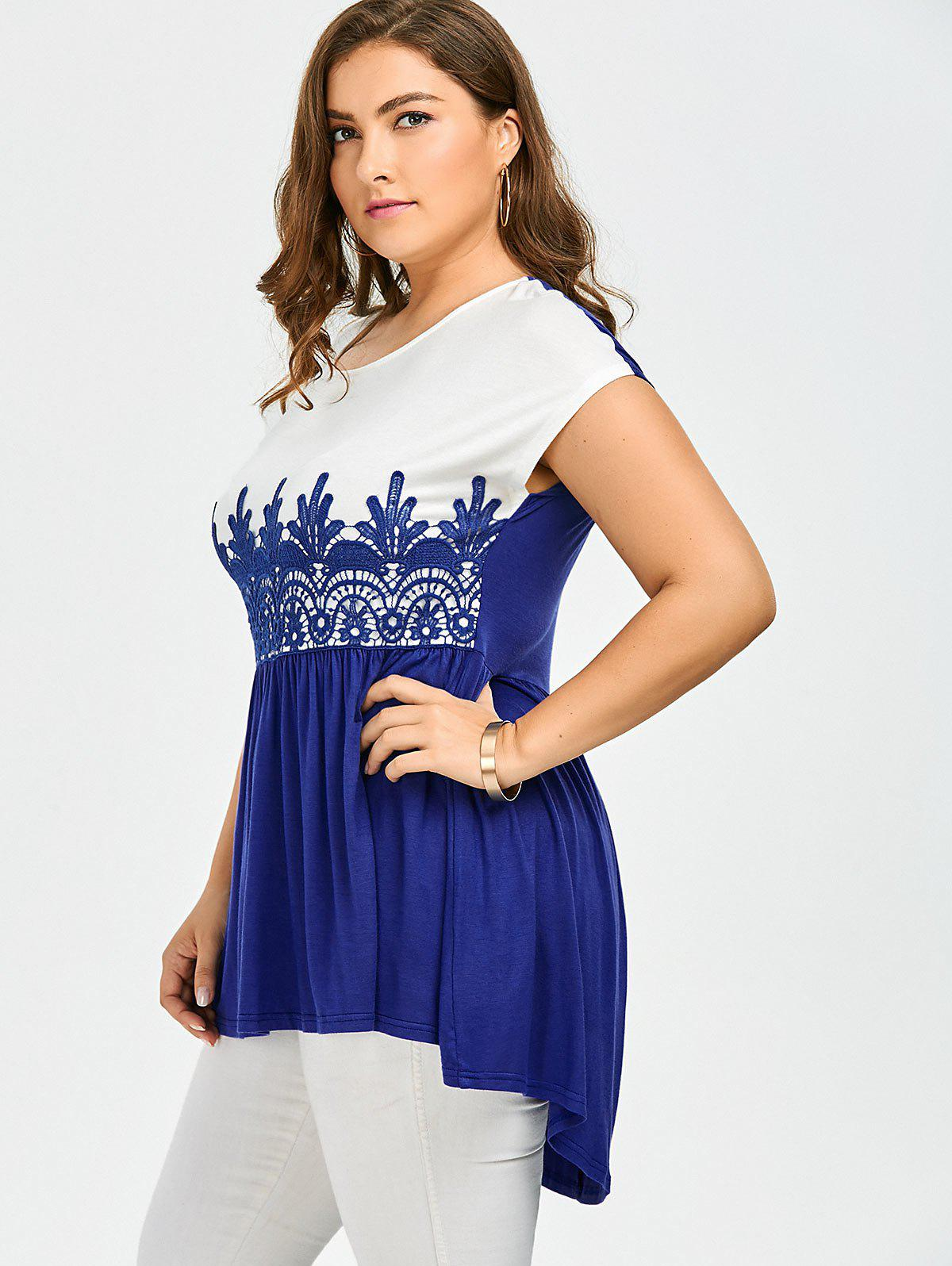 Lace Insert Plus Size High Low Top - BLUE/WHITE 4XL